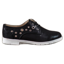 SHELOVET black Tied shoes with eco leather