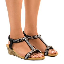 Black wedge sandals with studs 9-59