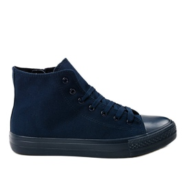 Navy Dark blue men's high sneakers XN50