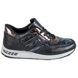 SHELOVET black Snake Print sneakers