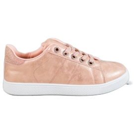 SHELOVET pink Sneakers With Brocade