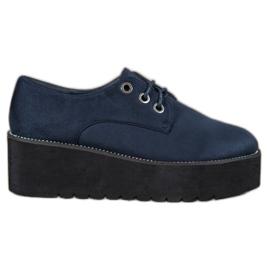 SHELOVET blue Suede Shoes On The Platform