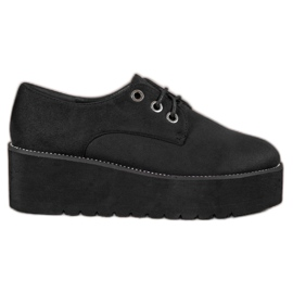 SHELOVET black Suede Shoes On The Platform