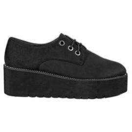 SHELOVET Suede Shoes On The Platform black