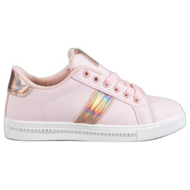 SHELOVET pink Sneakers With Cubic Zirconia