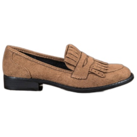 SHELOVET brown Loafers With Fringes
