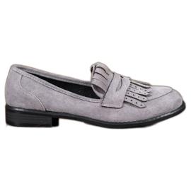 SHELOVET grey Loafers With Fringes