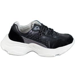 Vinceza black Laced Sport Shoes