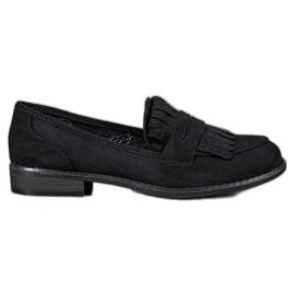 SHELOVET black Loafers With Fringes