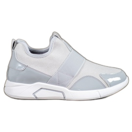Ideal Shoes grey Slip-on Fashion Sneakers