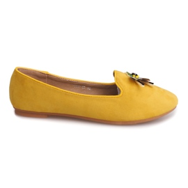 Suede Ballerinas With Skull 9988 Yellow