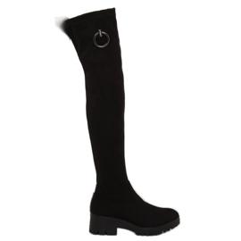 Black Women's thigh boots NC712 Black