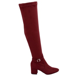 Red YL-151 Wine low-heeled thigh-high boots