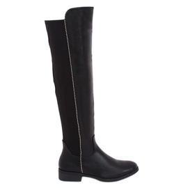Black boots with an elastic upper black 17005A-128 Black