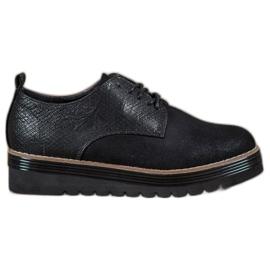 SHELOVET black Shoes On The Snake Print Platform