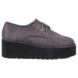 SHELOVET grey Suede Shoes On The Platform