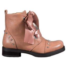 Bestelle pink Booties Tied with a Ribbon
