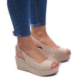 Gemre brown Wedge Sandals 3H096 Beige