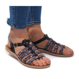 Gemre Sandals Decorated With Glitter 3-8 Black