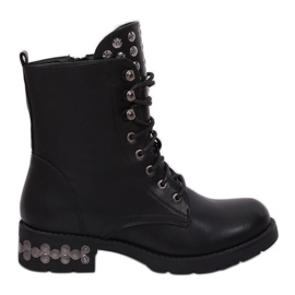 Black Boots with studs black KL-599 Black