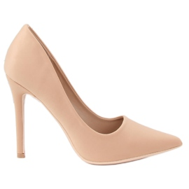 Brown Heels on a beige 4014 Nude