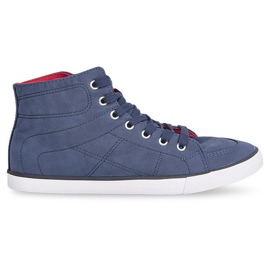 High Casual Sneakers 033 Navy Blue