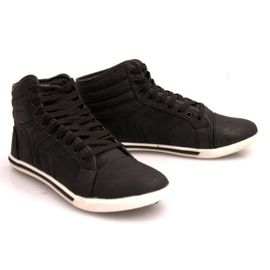 Fashionable High Sneakers 012M Black