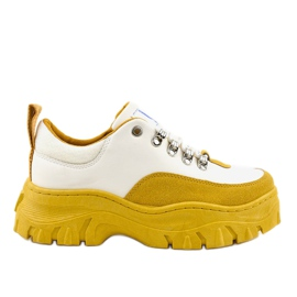 Gemre White and yellow fashionable women's sports footwear PF5329