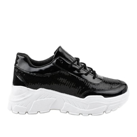 Gemre Black sports footwear with sequins W-3118