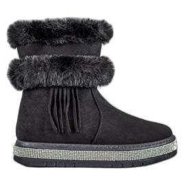 SHELOVET black Snow Boots With Fringes
