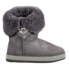 SHELOVET grey Snow Boots With Cubic Zirconia