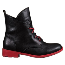 Filippo black Lace-up boots made of eco leather