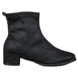 Small Swan Slip-on Suede Boots black