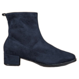 Small Swan Slip-on Suede Boots blue