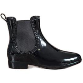 SHELOVET black Lacquered Wellington boots