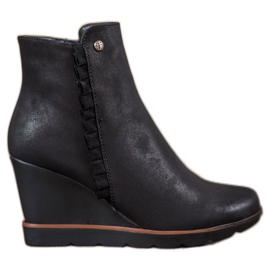 Filippo black Boots On Wedge