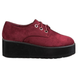 SHELOVET red Suede Shoes On The Platform