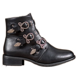 Anesia Paris Black Boots With Clasps