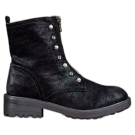 S. BARSKI black High Boots With Beads