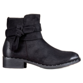 S. BARSKI black Suede Booties With Bow