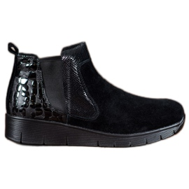 SHELOVET black Slip On Women's Boots