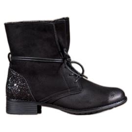S. BARSKI Black Lace-up Boots