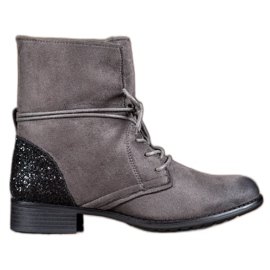 S. BARSKI grey Gray Lace-up Boots