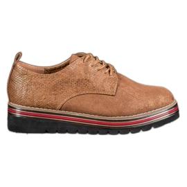 SHELOVET brown Shoes On The Snake Print Platform