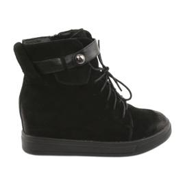 Daszyński Black sneakers with zipper 143