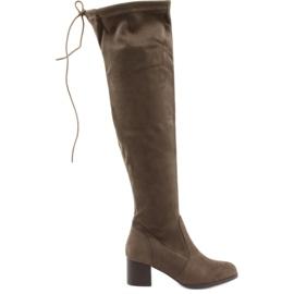 Daszyński Suede boots over the knee brown