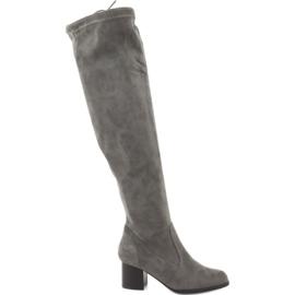Daszyński grey Suede boots over the knee