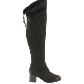 Daszyński Black suede boots over the knee black 1715