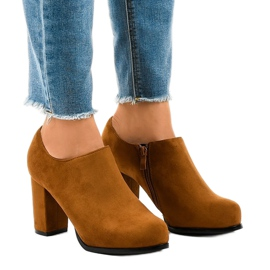 Gemre brown Camel suede boots on the post with the JM-9 zipper
