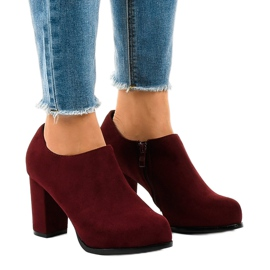 Gemre red Burgundy suede boots on a post with a JM-9 zipper